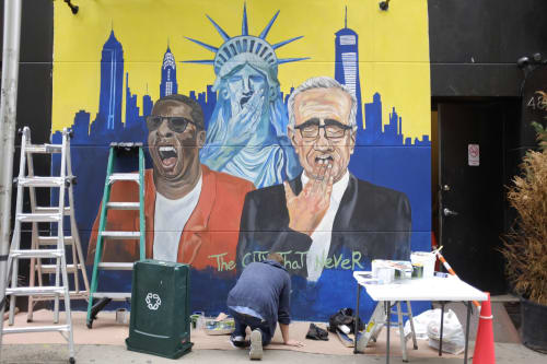 Murals by Rafael Glückstern seen at Garment District, New York - The City that Never Sleeps