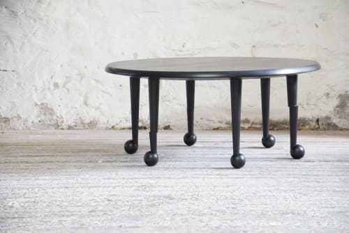 Tables by Andrew Finnigan seen at Private Residence, Rosendale NY, Rosendale - Offset Ball Foot Low Table