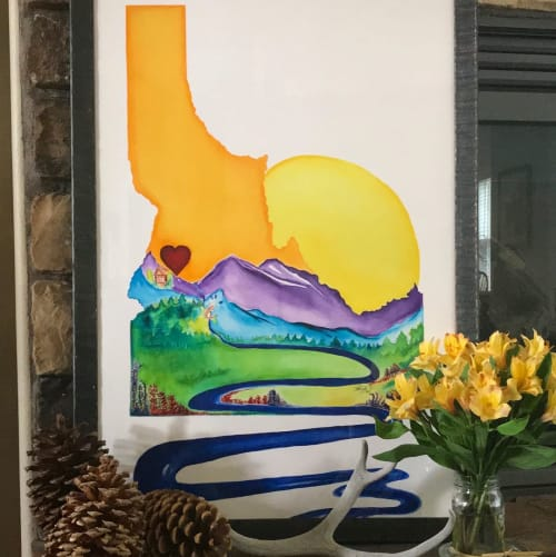 "Paintings by Beth Suter seen at Private Residence, Boise - ""A River Runs Through It"" (red heart) Idaho PRINT"