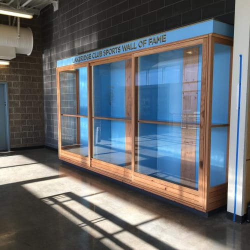 Furniture by Basile's Workshop seen at Lakeridge High School, Lake Oswego - Trophy Case