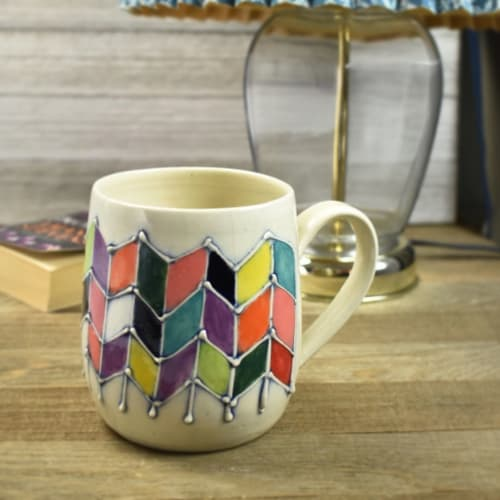 Cups by Yellow Cottage Pottery seen at Poteau, Poteau - Whimiscal and colorful Handcrafted Ceramic Mug