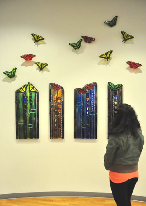 Sculptures by Mark Ditzler Glass Studio, LLC seen at Texas Children's Hospital - West Tower, Houston - Women's and Children's Hospital Butterfly Panels