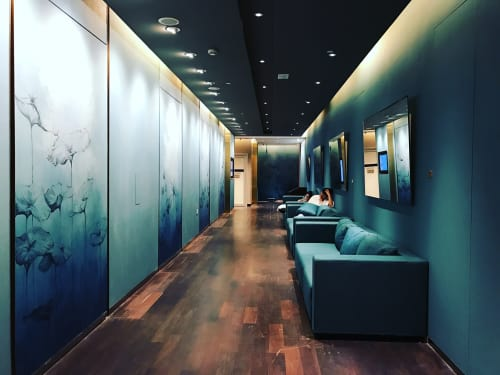 Murals by Elsa Jeandedieu Studio at Pure Yoga Langham Place Office Tower - Blue Patina with Lotus Illustrations Mural
