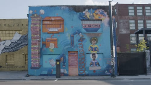 "Murals by Occasional Superstar seen at 395 Edgewood Ave SE, Atlanta - ""THE PARAGRAPHALIZER + THE FUTURIZER"""