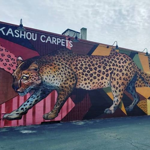 Street Murals by Stacey Williams-Ng seen at 2169 N Farwell Ave, Milwaukee - Leopard Mural