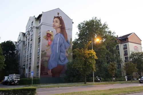"Murals by Artez seen at Bulevar Jaše Tomića 9, Novi Sad - ""When the cat is away..."""