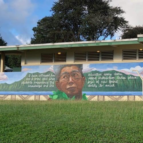 Murals by Lauren Hana Chai at Kāneʻohe Elementary School, Kaneohe - Daniel Akaka Memorial