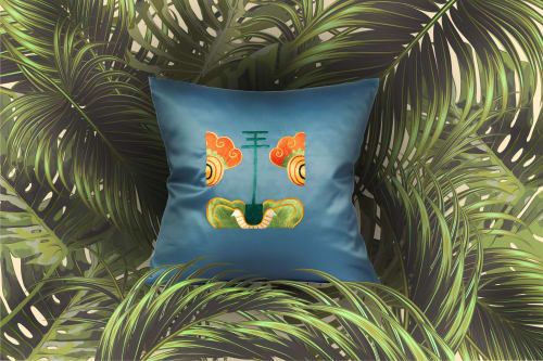 Pillows by Ori Bespoke seen at Private Residence, London - Mischievous Tiger