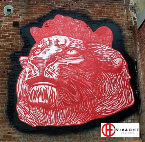 Murals by Vivache Designs at 431 S Hewitt St, Los Angeles - The Great Protector