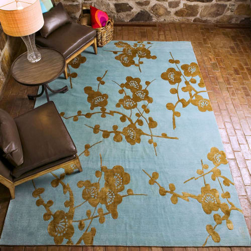 Rugs by Emma Gardner Design, LLC seen at Private Residence, Litchfield, CT, Litchfield - Spray, Hand-Knotted Tibetan Wool and Raised Pile Chinese Silk