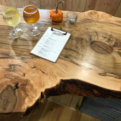 Tables by Vermont Tree Goods seen at Shacksbury Cider, Vergennes - Live edge table