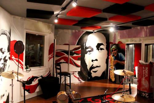 Murals by Crayone seen at Live Musicians Co-op, Santa Rosa - LMC Mural
