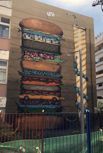 The XXXL Panta Burger | Street Murals by Mrfjodor aka Fjodor Benzo | Starttech Ventures in Athina