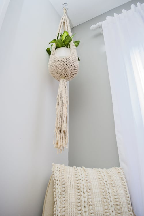 Macrame Wall Hanging by A Modern Take Fiber Art seen at Private Residence, Texas City - Vintage Style Macrame Plant Hanger