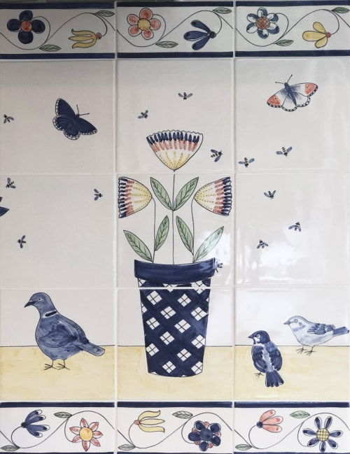 Tiles by Reptile Tiles seen at Private Residence, London - Birdbath tiles with Doves, Sparrows and flowers.
