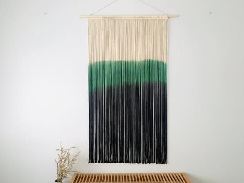 Green and black macrame