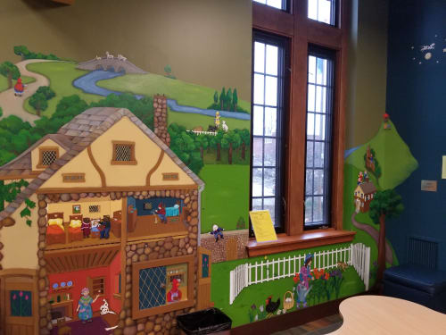Murals by Beth Shadur seen at Highland Park, Highland Park - Library mural