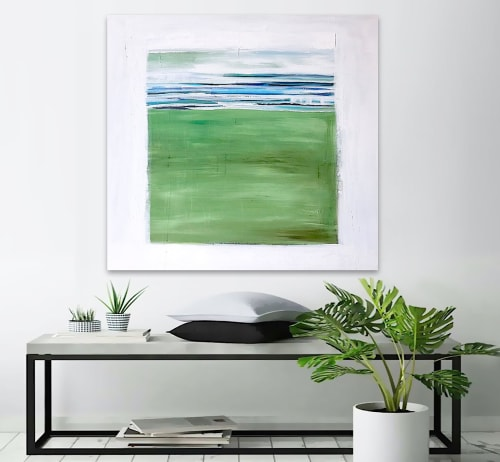 Paintings by Linnea Heide contemporary fine art seen at Private Residence, Austin - 'GALAPAGOS' original abstract painting by Linnea Heide