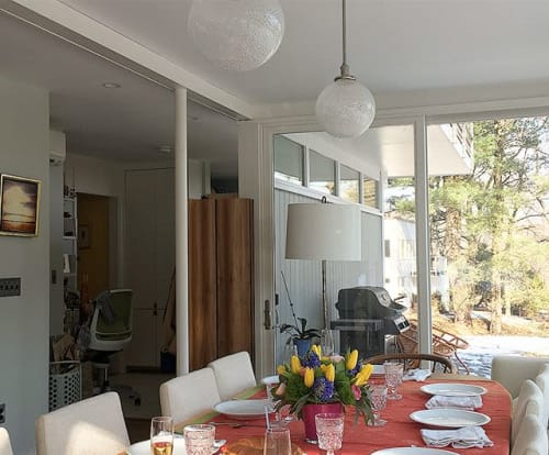 Pendants by Carrie Gustafson seen at Private Residence, Lexington - Dahlia Pendants