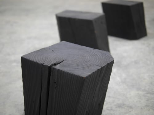 Tables by Yvonne Mouser seen at Bay Area Made x Wescover 2019 Design Showcase, Alameda - Charcoal Blocks