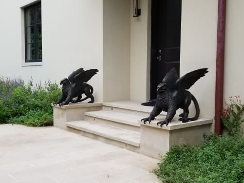 Public Sculptures by Deran Wright seen at Private Residence, Dallas - Gryphons rampant