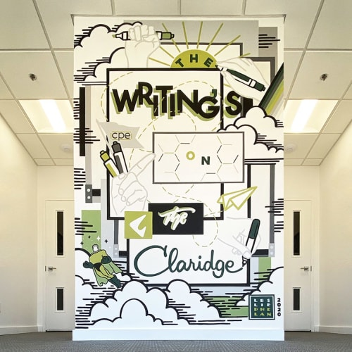 Murals by Leslie Phelan Mural Art + Design seen at CPE Design Solutions Inc, Oakville - The Writing's on the Claridge