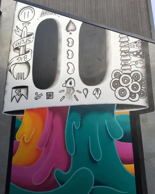 """Murals by BS Just More (Bulky Savage) seen at Riverside Market, Christchurch - """"On My Mind"""" Mural"""