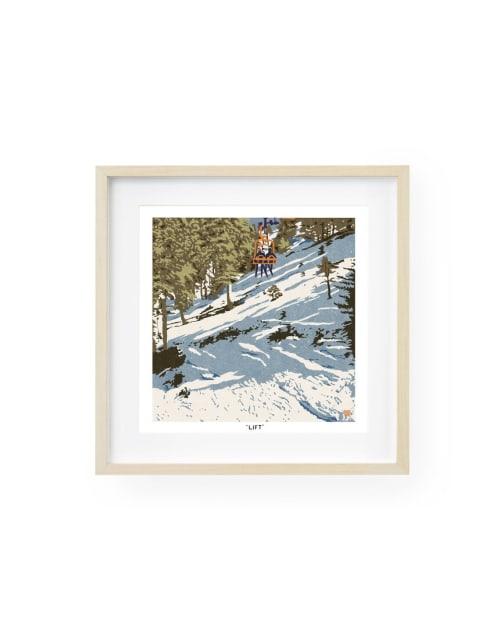 Paintings by Birdsong Prints - Skiing Art Print