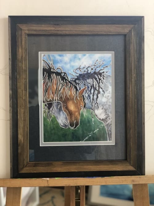 """Paintings by Christie Marie E. Russell seen at Carson City, Carson City - """"Hugs"""" Original is a mixed media - watercolor and silver paint pen"""