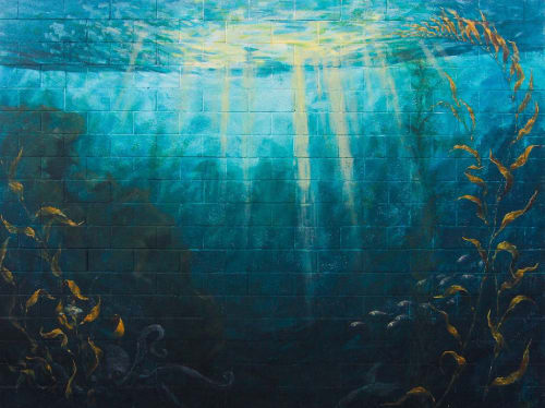 "Murals by Chapman Hamborg seen at Peterson Elementary, Huntington Beach - ""Underwater Scene"" mural"