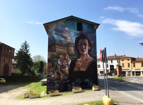 Street Murals by Guido Palmadessa seen at Bagnara di Romagna, Bagnara di Romagna - Caterina: Tigre de Romagna