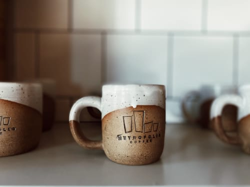 Tableware by Love, Emma Ceramics seen at Metropolis Coffee, Denver - Custom Metropolis Mugs
