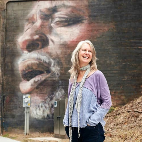 "Street Murals by Suzy Schultz seen at Westview, Atlanta - ""Singer"""