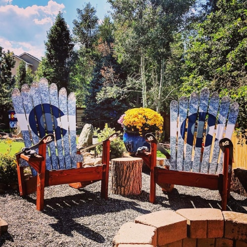 Chairs by Colorado Ski Chairs seen at Private Residence, Colorado Springs - Pair of Marbled Greyscale Colorado Flag Adirondack Ski Chairs