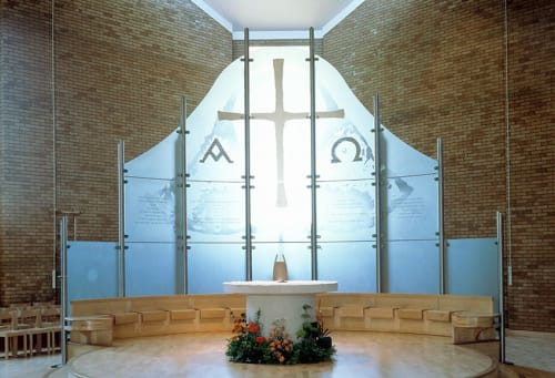 Art & Wall Decor by Martin Donlin seen at St Joseph's Catholic Church, Epsom - Glass Altar Screen