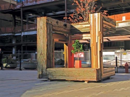"Public Sculptures by Fontana Studios seen at 800 SW Yamhill St, Portland - Umpqua : ""Exhibit Growth"""