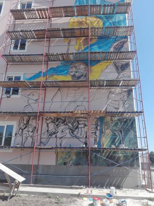 "Street Murals by Roman Bonchuk seen at Kyiv City, Kyiv - Picture-mural ""Defense of Homeland"""