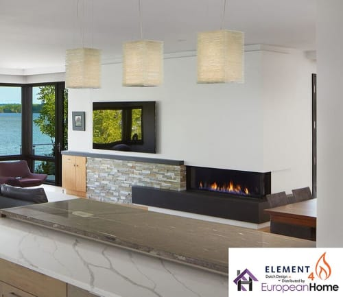 Fireplaces by European Home seen at Private Residence, Middleton - Bidore 140 Corner Style Gas Fireplace