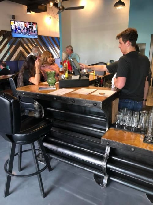 Furniture by Savage Metal LLC seen at Happy's Barley & Vine, El Paso - Custom Beer Taps