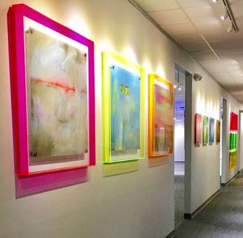Paintings by Abby Creek Studios - Paintings by Linda O'Neill seen at Austin, Austin - Three abstracts with acrylic frames