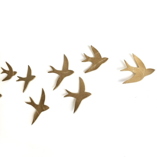 Art & Wall Decor by Elizabeth Prince Ceramics seen at Creator's Studio, Manchester - Flock - Swallows Gold Set of 11