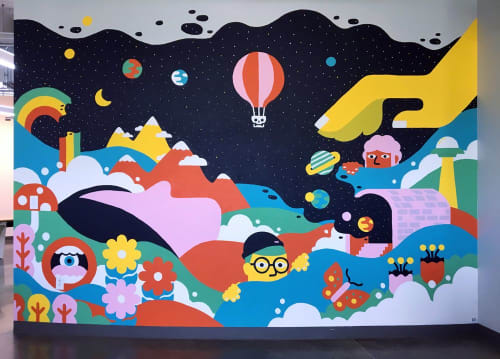 Murals by Sasha Barr Illustration & Design seen at Googleplex, Mountain View - It's What Dreams are Made Of
