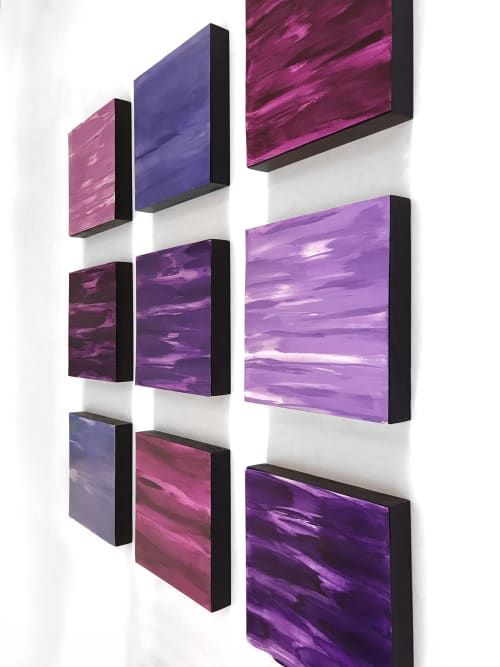 Paintings by Paula Gibbs seen at Artist Studio, Tucson - Wall of Color, Purples, 9 panels, by Paula Gibbs
