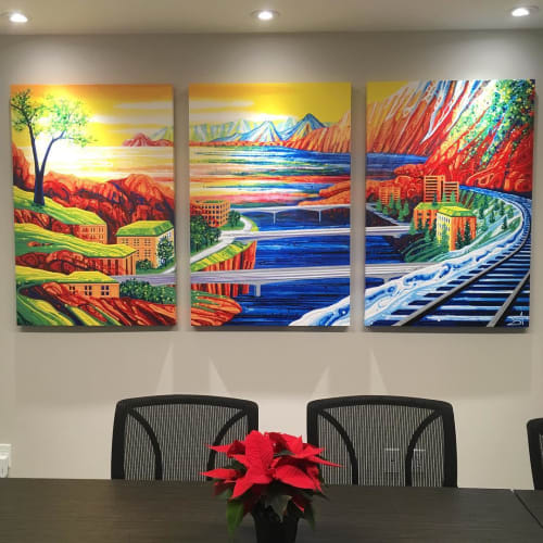 Paintings by Amy Shackleton seen at Compass Wealth Partners, Oshawa - Building Bridges (Italy, Austria + Poland)