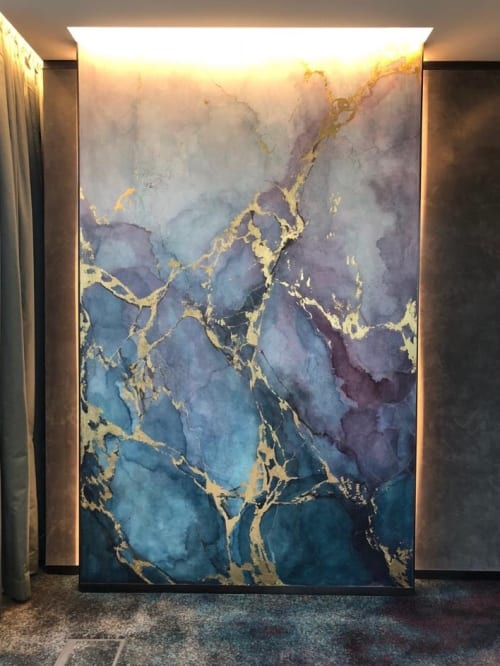 Wall Treatments by Elsa Jeandedieu Studio at K11 Atelier - Blue and Purple Watercolour Marble Effect