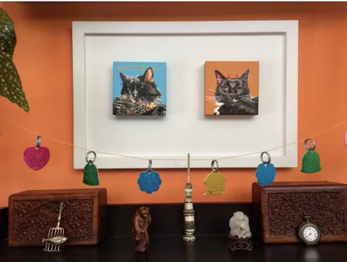 Paintings by Katya Maria Cohen seen at Private Residence, Clemson - Scruffy and Hidey