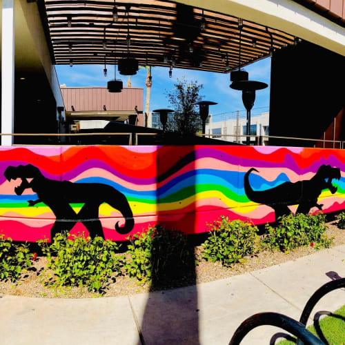 Murals by Shaggy seen at FOUND:RE Phoenix Hotel, Phoenix - T Rex mural