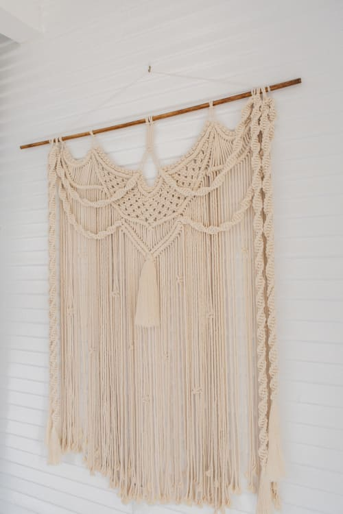 Macrame Wall Hanging by Demi Macrame & Designs seen at Creator's Studio, Houston - Natural Swooping Chain Macrame Wall Hanging
