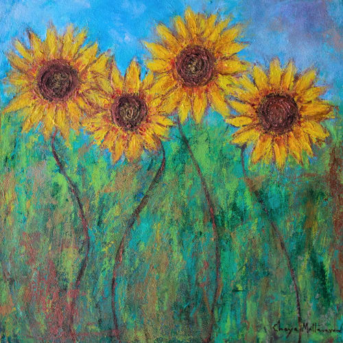 Paintings by Chaya Mallavaram seen at Private Residence - Sunflower painting - Mixed media
