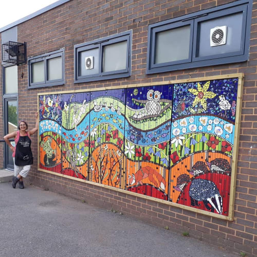 Public Mosaics by Mango Mosaics seen at Hodge Hill College, Birmingham - Sunshine Moonlight Mosaic